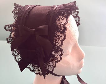 Black Customizable Lolita Headdress with 4 snap on black bows (additional add on sold separately) Gothic Lolita, cosplay, mori.