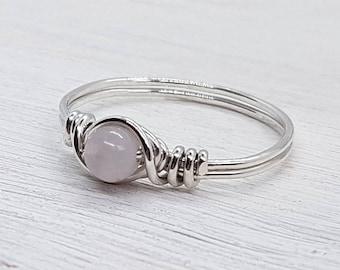Rose Quartz Sterling Silver Ring - 925 - Silver Ring - Sterling Silver Wire Wrapped Ring - Friendship Ring - Boho - Minimalist