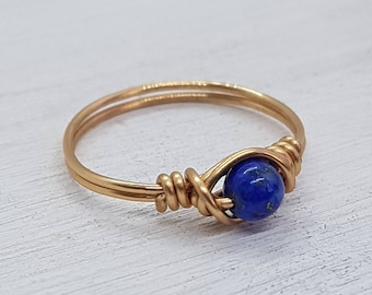 Lapis lazuli Brass Ring - Wrapped Ring - Wire Wrapped Ring - Gold Ring - Friendship Ring - Boho - Minimalist