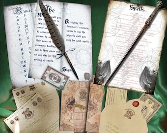 NEW Bumper Wizards Acceptance Letter Gift Set, With Solid Wood Wand, Ballpoint Quill Pen, WOW.