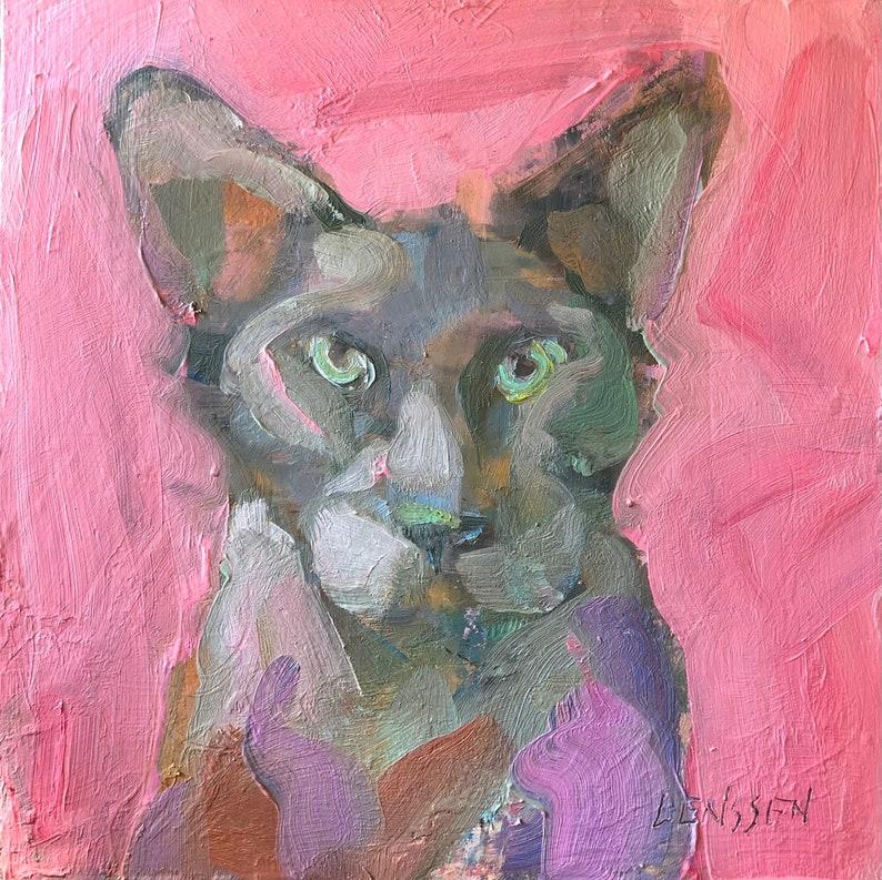 Sugarfoot.  Cat Painting Original Artwork Wall Decor image 0