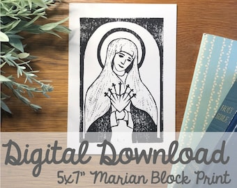"""Our Lady of Sorrows Block Carving 5x7"""" Print- Digital Download"""