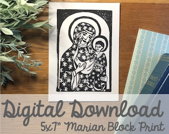 "Our Lady of Częstochowa Block Carving 5x7"" Print- Digital Download"