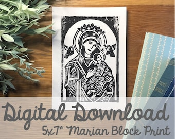 "Our Lady of Perpetual Help Block Carving 5x7"" Print- Digital Download"