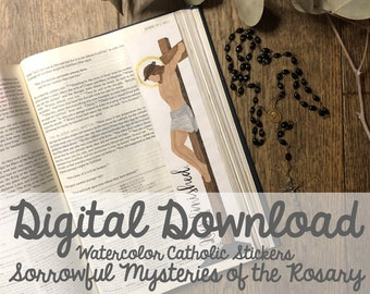 Watercolor Sorrowful Mysteries of the Rosary Catholic Bible Margin Doodle Stickers- Digital Download