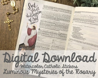 Watercolor Luminous Mysteries of the Rosary Catholic Bible Margin Doodle Stickers- Digital Download