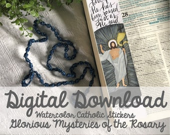 Watercolor Glorious Mysteries of the Rosary Catholic Bible Margin Doodle Stickers- Digital Download