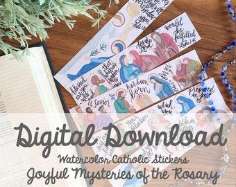 Watercolor Joyful Mysteries of the Rosary Catholic Bible Margin Doodle Stickers- Digital Download