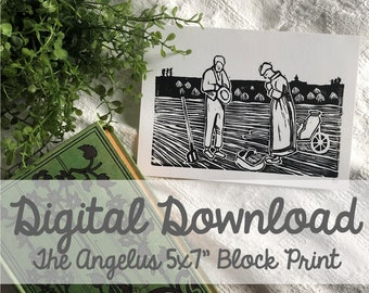 "The Angelus Block Carving 5x7"" Print- Digital Download"
