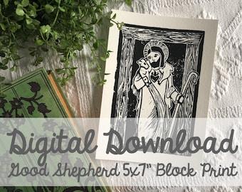 """Good Shepherd Block Carving 5x7"""" Print- Digital Download"""