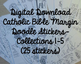 Collections 1-5 Catholic Bible Margin Doodle Stickers- (25 Stickers) Digital Download