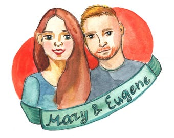Valentine's Day Gifts, Customized family portrait, watercolor family portrait, family portrait, wedding gift, digital portrait
