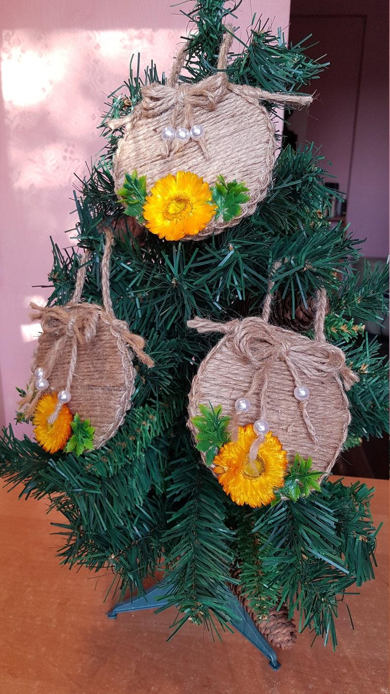 Jute Christmas Ornament Holiday Mantel Decor Primitive Christmas Burlap Decor Jute Decor Jute Hanging Holiday Decor Christmas Tree Decor