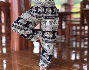 1629a904547d Thai black Elephant Boho hippie chic yoga meditation harem pants, hippie  festival bohemian clothing, Hippie gifts, Festival clothing