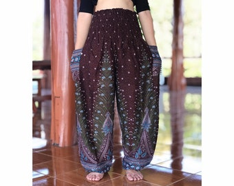 b831d728272 PLUS SIZE XXL Thai peacock hippie harem yoga meditation festival boho pants