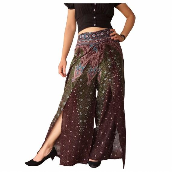 Pantalones Hippies De Mujer Pantalones Palazzo Slit Etsy