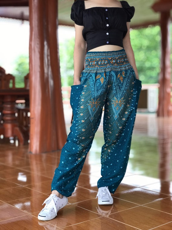 Peacock Harem Pants Festival Clothing Hippie Pants Yoga Etsy