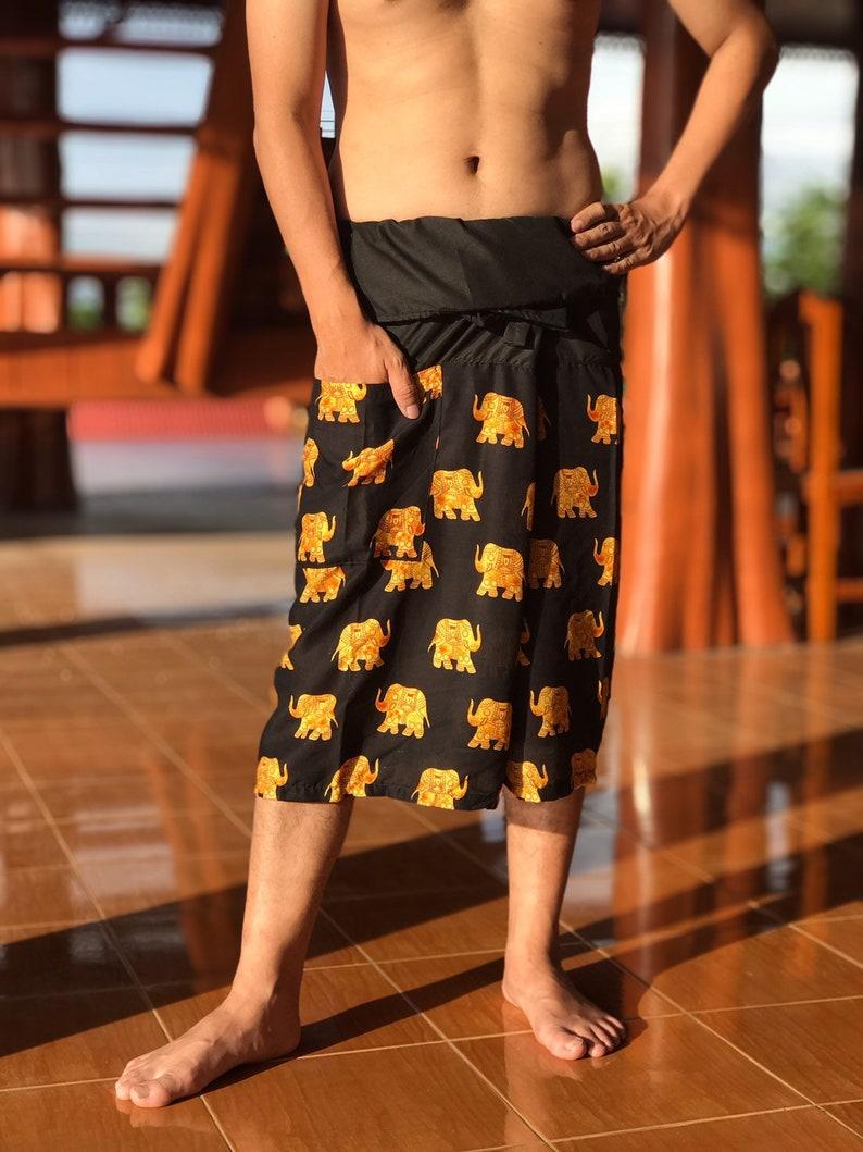 Fisherman pants Mens Hippie Shorts Thai Fisherman shorts Festival Shorts Mens Bohemian Shorts Mens Festival Shorts Boho clothing