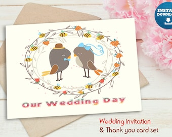 Love birds, wedding invitation set, Download NOW! no waiting, front and inside/back of card, and matching thank you card. perfect for spring