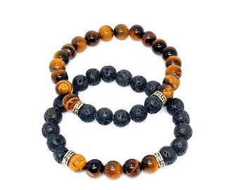 Duo/set Tiger Eye Hematite and black Obsidian Stone Bead   Etsy