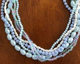 Vintage Necklace Baby Blue Multi-strand