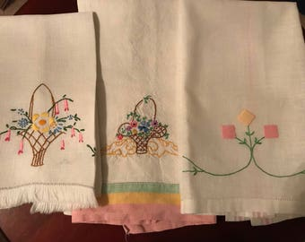 Vintage Tea Towels, Set of Three in Pastel Spring Colors, Pink, Yellow,Green and Blue