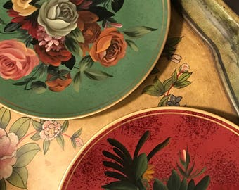 Beautiful Decorative Plates, Red and Green with Colorful Cabbage Roses.  Selling as a Set.
