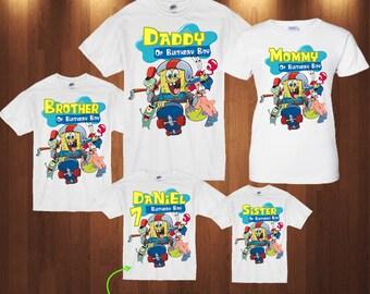 Spongebob Squarepants Birthday Family Shirt Add Name AGESpongebob Custom ShirtP025