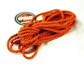 8 pieces Deep Orange - Hand made and dyed jute rope for Shibari / Kinbaku