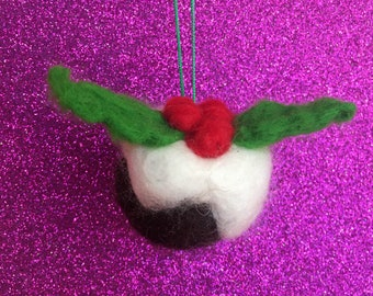 Hand Needle Felted Christmas Pudding Tree Decoration / Bauble