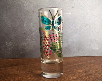 Hand-Painted Glass Butterfly Bud vase