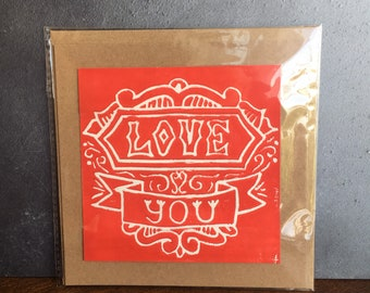 Hand-Printed Lino Cut 'Love You' Card