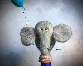 Gorgeous Hand needle felted elephant