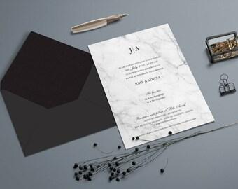 Invitation en marbre avec enveloppe noire