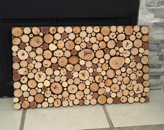 Wood Fireplace Screen Etsy