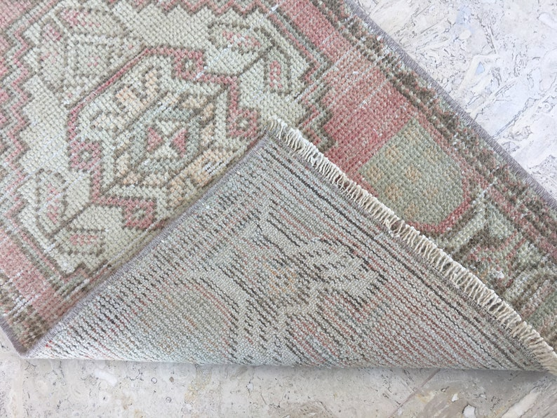 1/'5x2/'10 Small Turkish Rug,Vintage Oushak Faded Area Rug,Antique Turkish Carpet,Entry Rug,Home Floor Mat Rug,Oushak Mat Rug,Bathroom Rug