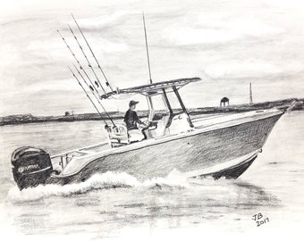 Drawing Sketch FUN Gift for Fathers Day, Boat Warming. Nautical Home Decor. Yacht Club, Boat Obsession!