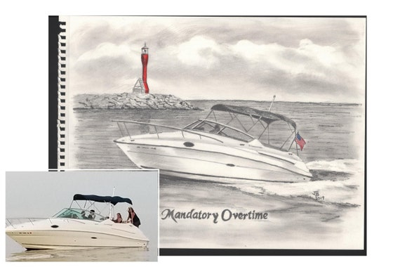 Drawing Your Boat 11x14 From Your Pictures Sketch Etsy