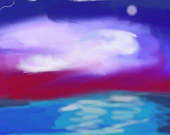 Blue Sky @  Night Digital Abstract Art