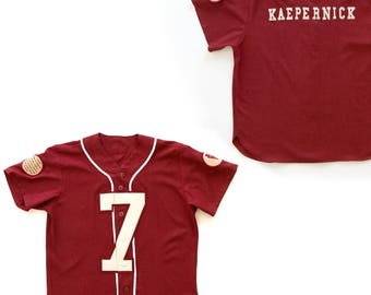 Colin Kaepernick 7 Kneeling Jersey Size XL    Signed   Numbered by Artist  Nicolas Lampert    Wool Blend Throwback a142a904f