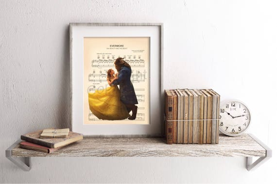 Beauty And The Beast Live Action Evermore Sheet Music Art Print