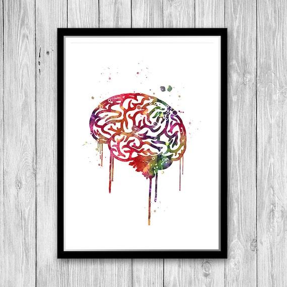 Brain Anatomy Watercolor Print Science Art Neurology Medical Art Graduation Gift