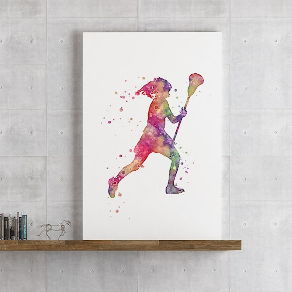 Girl Lacrosse Player Watercolor Print Girls Room Decor Sports Etsy