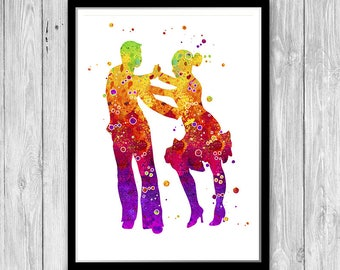 Ballroom Dance Decor Watercolor Art Print Cha-cha-cha Dancers Art Gift for Biger Sister Present for my dancing partner, Dance competition