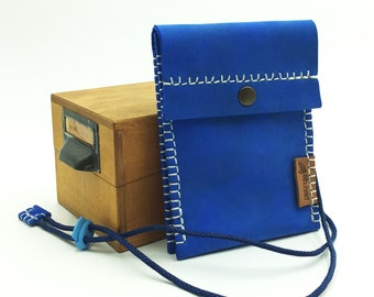 Blue leather collar bag for people looking for security