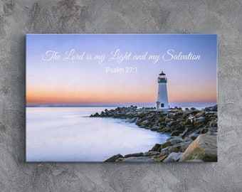 Bible Quote Canvas, Christian Wall Art, Scripture Verse Wall Decor, Psalm 27:1, The Lord Is My Light & My Salvation, Lighthouse Seascape Art