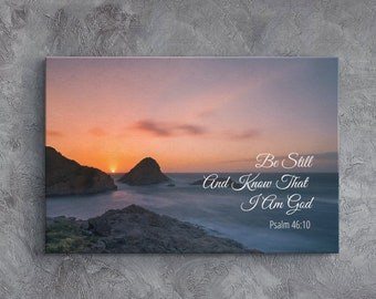Bible Verse Canvas, Christian Wall Art, Framed Scripture Wall Decor, Religious Wall hangings, Be Still And Know That I Am God, Psalm 46:10