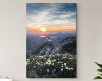 When My Heart is Overwhelmed Wall Art Canvas, Christian Bible Verse Wall Decor, Psalm 61:2, Mountain Sunrise Landscape, Framed Ready To Hang