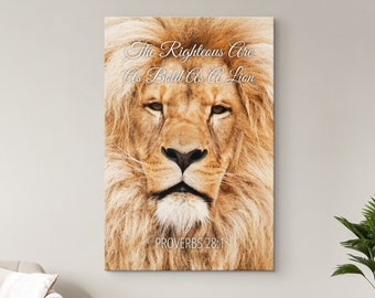 Christian Wall Art, Bible Verse Scripture Quotes Canvas, The Righteous Are As Bold As A Lion - Proverbs 28:1, Wood Framed Ready To Hang