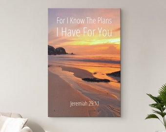 Christian Wall Art, Bible Verse Scripture Quotes Canvas, For I Know The Plans I Have For You - Jeremiah 29:11, Wood Framed Ready To Hang